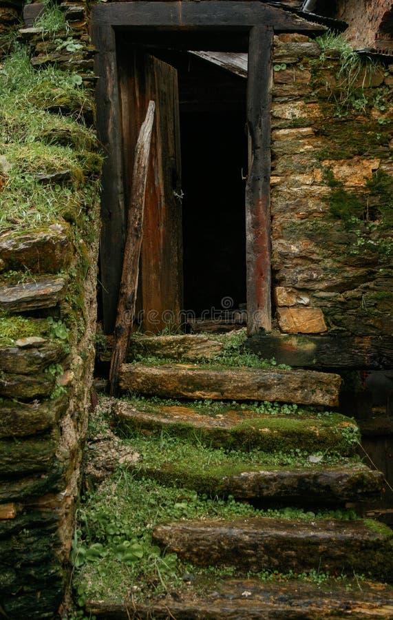 Ongelijke steentreden in een oud huis met gras en mos en houten deurkader stock foto