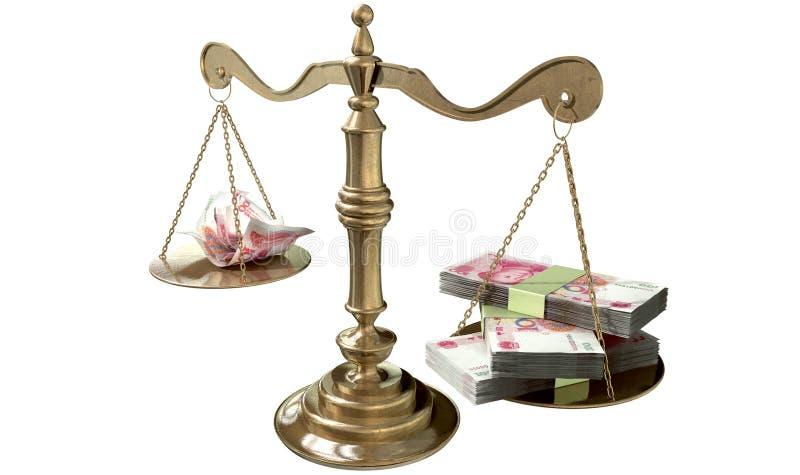 Ongelijkheidsschalen van Rechtvaardigheid Income Gap China royalty-vrije illustratie