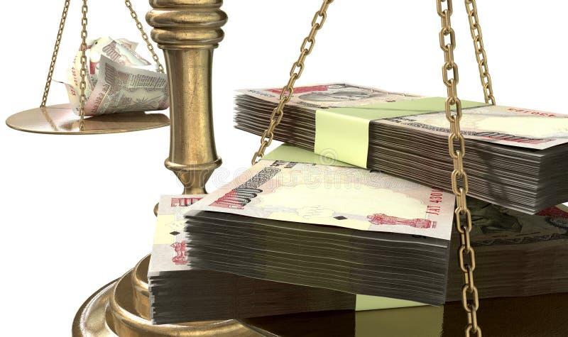 Ongelijkheidsschalen van Rechtvaardigheid Income Gap India stock illustratie