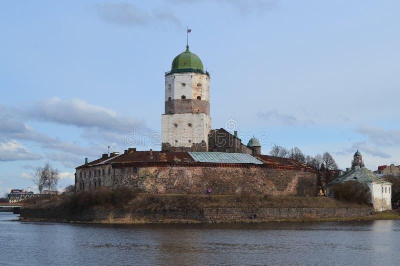 Ongelooflijk kasteel van Viborg in de lente royalty-vrije stock foto's