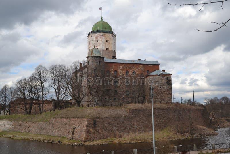 Ongelooflijk kasteel van Viborg in de lente stock afbeelding