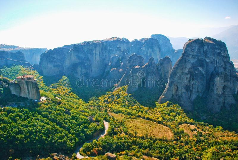 Ongelooflijke bergen in Griekenland - Meteora royalty-vrije stock foto's