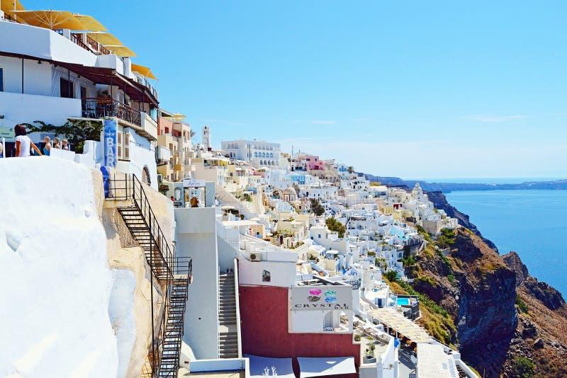 Ongelooflijke het eilandmening Griekenland van Fira Santorini royalty-vrije stock foto