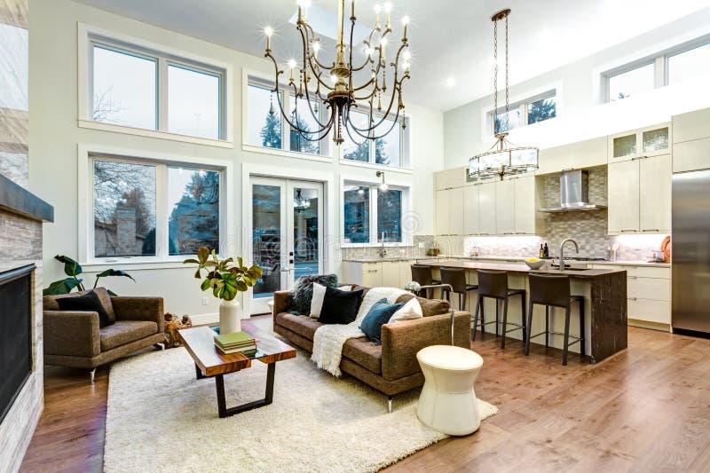 Ongelooflijke lichte en luchtige woonkamer met hoog plafond in een nieuwe bouwhuis royalty-vrije stock afbeelding