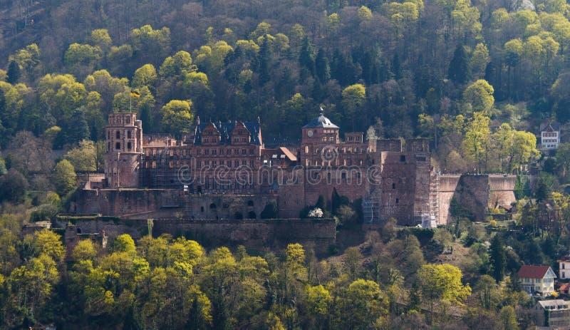 Ongelooflijke mening over het middeleeuwse kasteel van Heidelberg royalty-vrije stock afbeeldingen