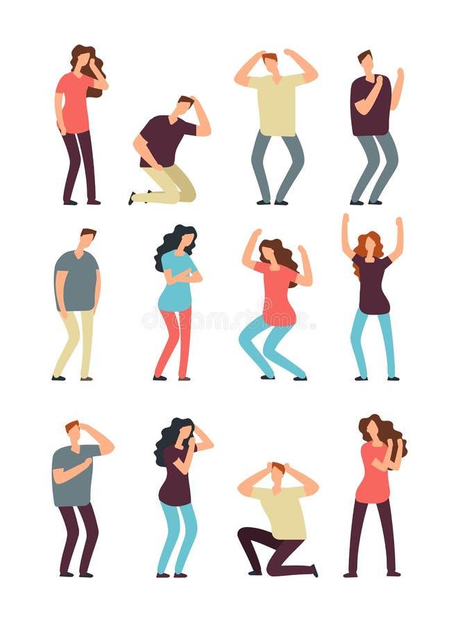 Ongelukkige gefrustreerde mensen Hulpeloze, gedeprimeerde man en vrouw Karakters van het droevige en wrok de mannelijke en vrouwe stock illustratie