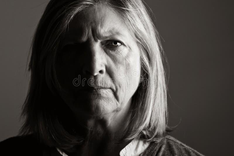 Ongelukkige Hogere Dame royalty-vrije stock foto's