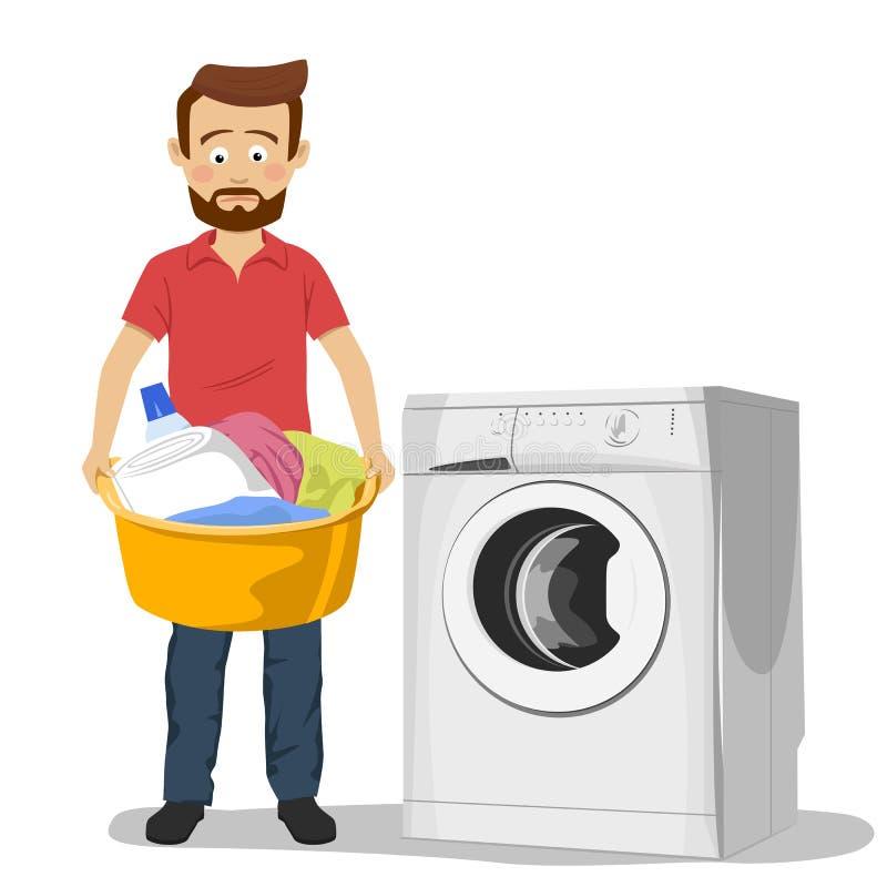 Ongelukkige jonge mens die zich naast die wasmachine met bassin bevinden met vuile kleren wordt gevuld stock illustratie