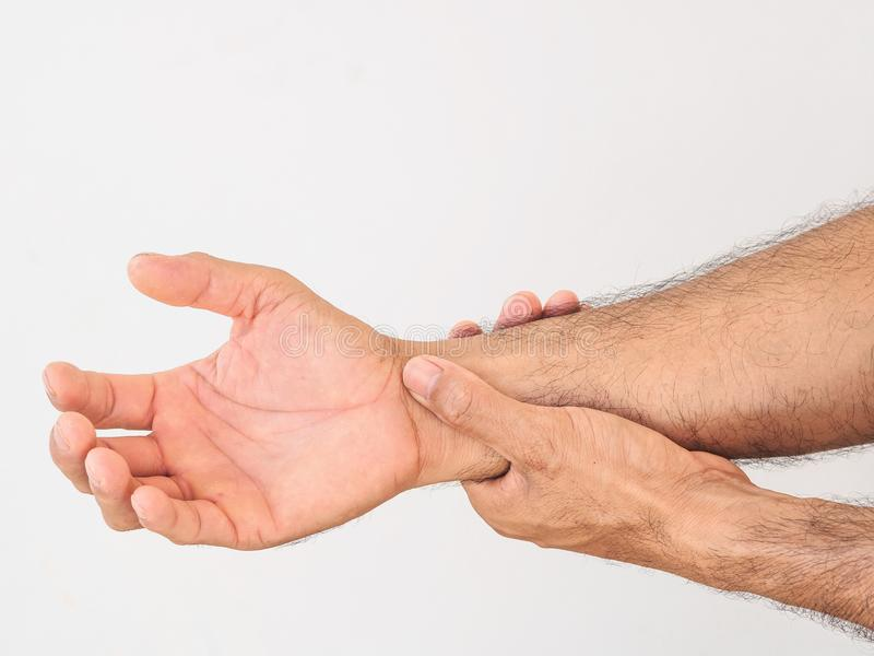 Ongelukkige mens die aan pijn ter beschikking op witte achtergrond lijden Hea stock foto