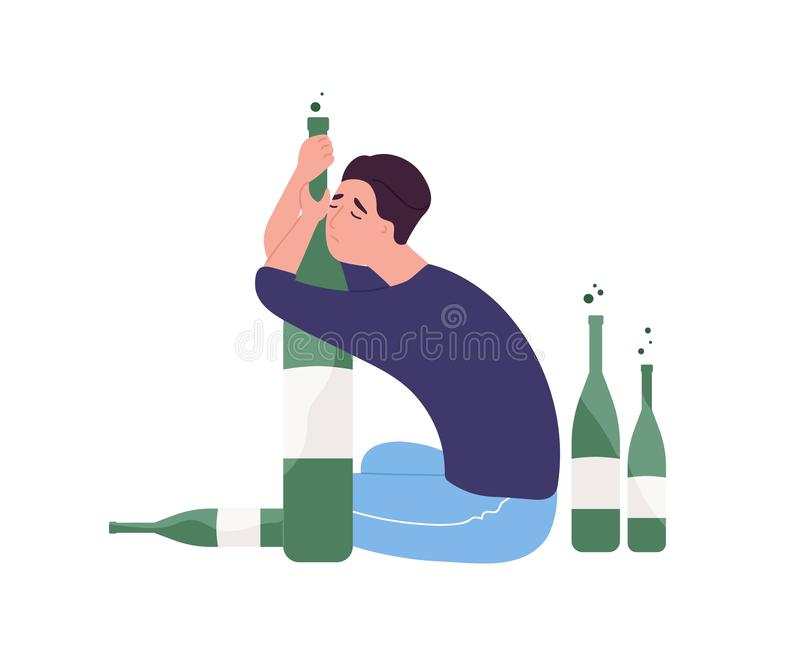 Ongelukkige mensenzitting op vloer en het koesteren van fles Jonge die kerel met alcoholverslaving op witte achtergrond wordt geï stock illustratie