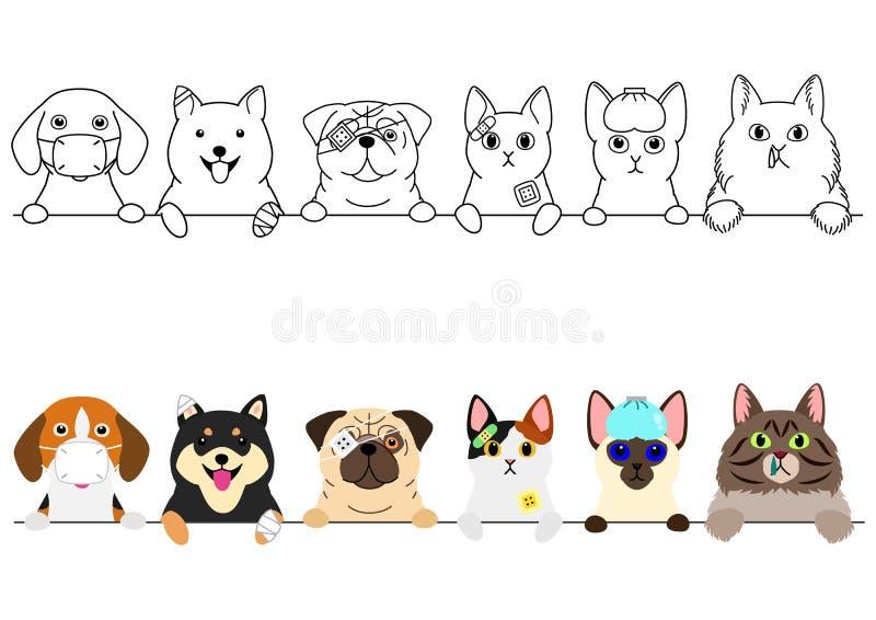 Ongelukkige zieke katten en hondengrens vector illustratie