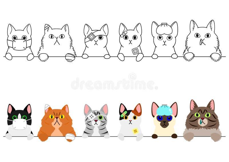 Ongelukkige zieke kattengrens royalty-vrije illustratie