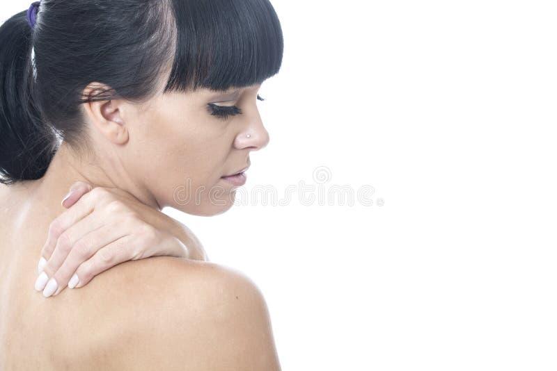 Ongemakkelijke Ongelukkige Nadenkende Jonge Vrouw in Pijn stock foto's