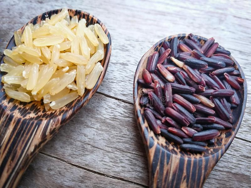 Ongepelde rijst en rijstbes royalty-vrije stock foto's