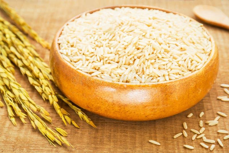 Ongepelde rijst in houten kom royalty-vrije stock afbeelding
