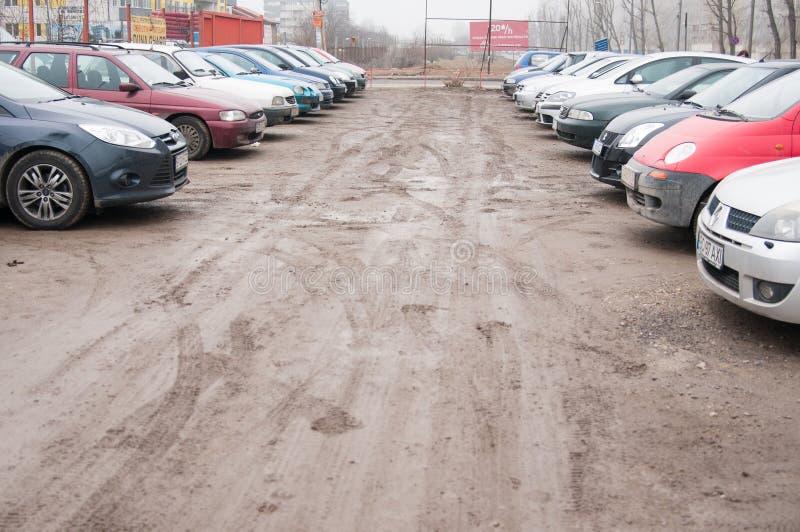 Ongeplaveid parkeerterrein royalty-vrije stock foto's