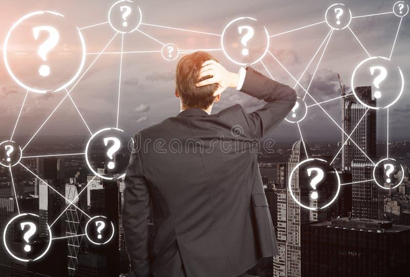 Ongerust gemaakt businessperson met vragen stock illustratie