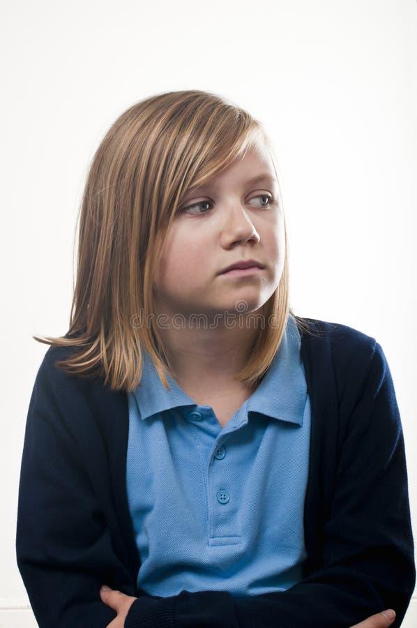 Ongerust gemaakt schoolmeisje royalty-vrije stock foto's