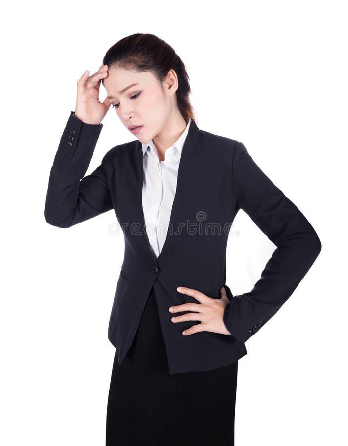 Ongerust gemaakte bedrijfsdievrouw op wit wordt geïsoleerd stock foto