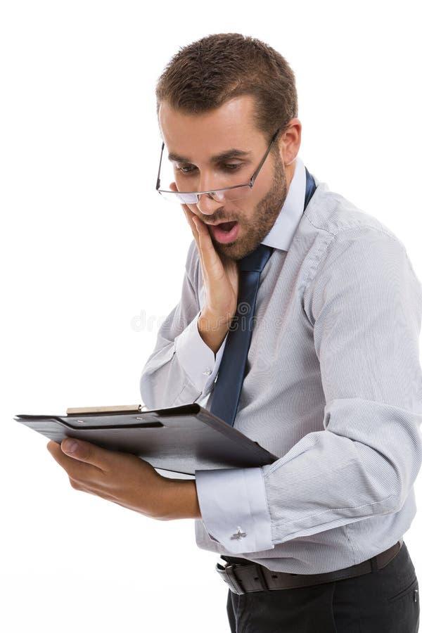 Ongerust gemaakte zakenman stock afbeelding