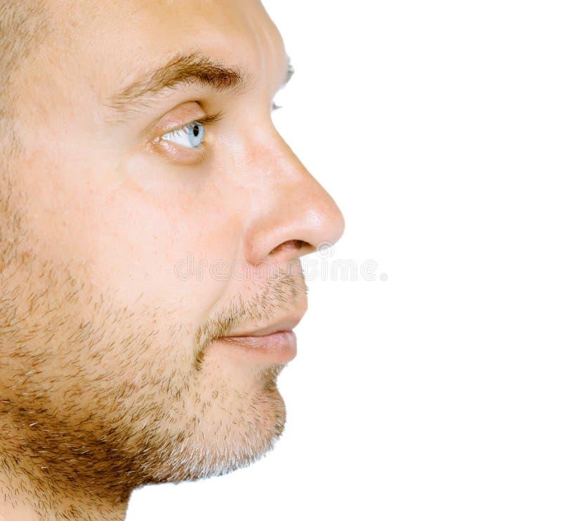 Ongeschoren blauwe eyed mens in profiel studio Geïsoleerde stock afbeeldingen