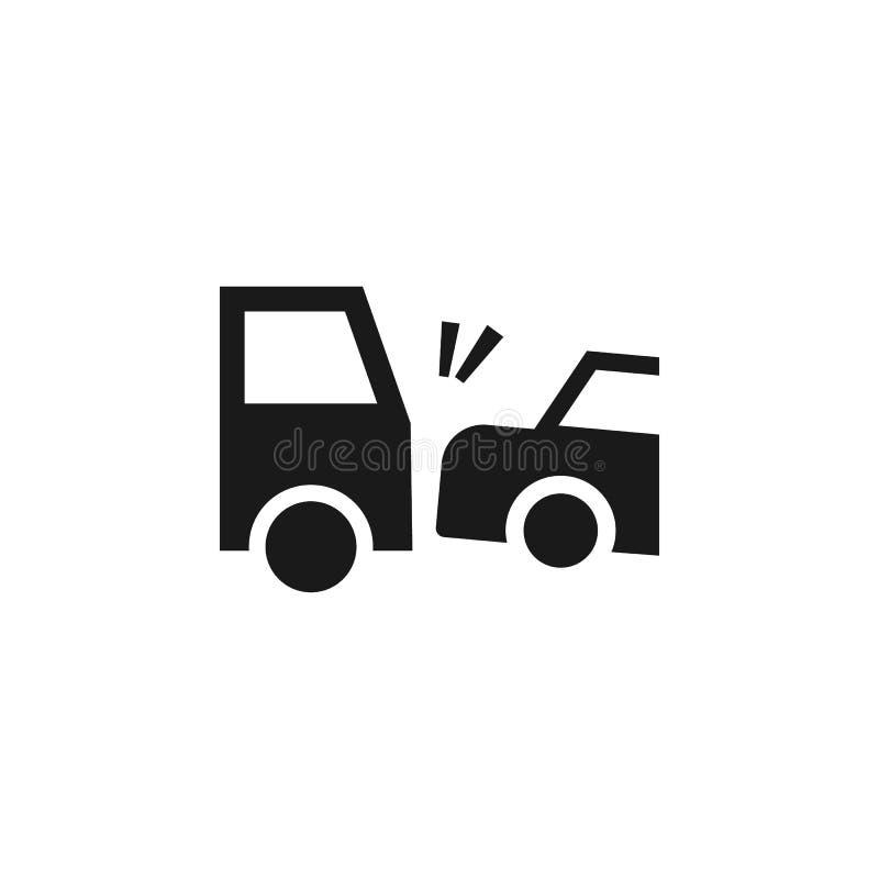 Ongeval, auto, botsing, verzekeringspictogram - Vector De vectorillustratie van het verzekeringsconcept royalty-vrije illustratie