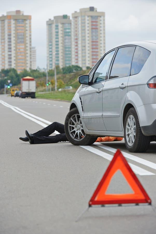 Ongeval. geklopt onderaan voetganger royalty-vrije stock foto