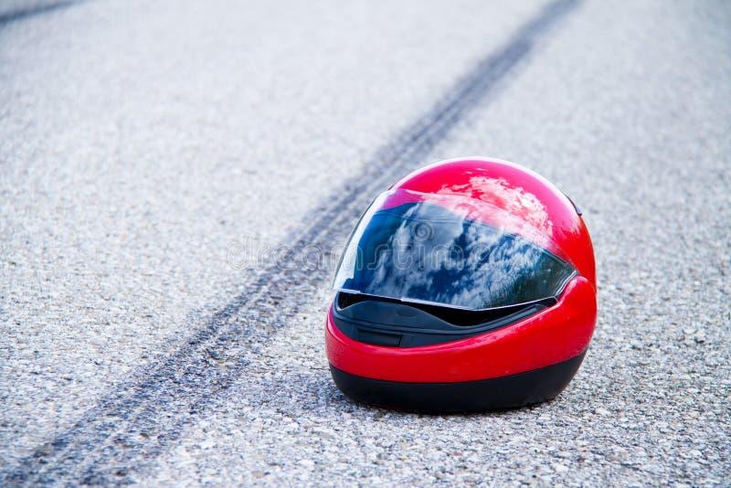 Ongeval met motorfiets verkeersongeval met stock afbeelding