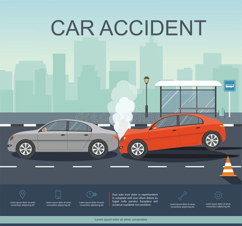 Ongeval met twee auto's op de weg Transporation Infographic royalty-vrije illustratie