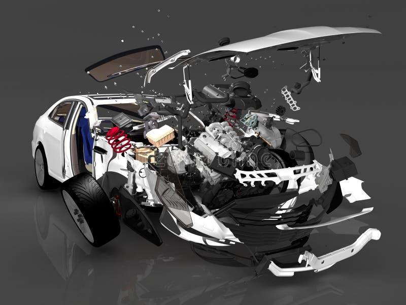 Ongevallenauto stock illustratie