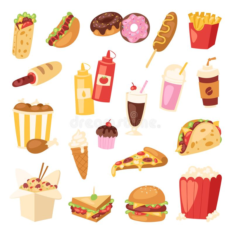 Ongezonde de hamburgersandwich van het beeldverhaal snelle voedsel, hamburger, van het het restaurantmenu van de pizzamaaltijd de royalty-vrije illustratie
