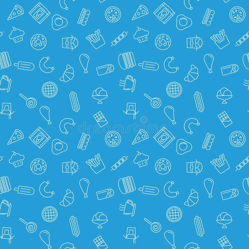 Ongezonde kost blauw patroon Vector naadloze textuur stock illustratie