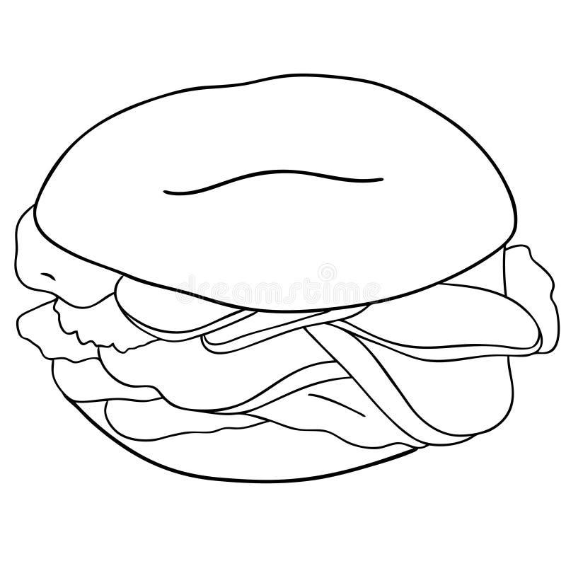 Ongezuurd broodje met komkommer, zalm, roomkaas Contourillustratie op witte achtergrond wordt ge?soleerd die Vector royalty-vrije illustratie