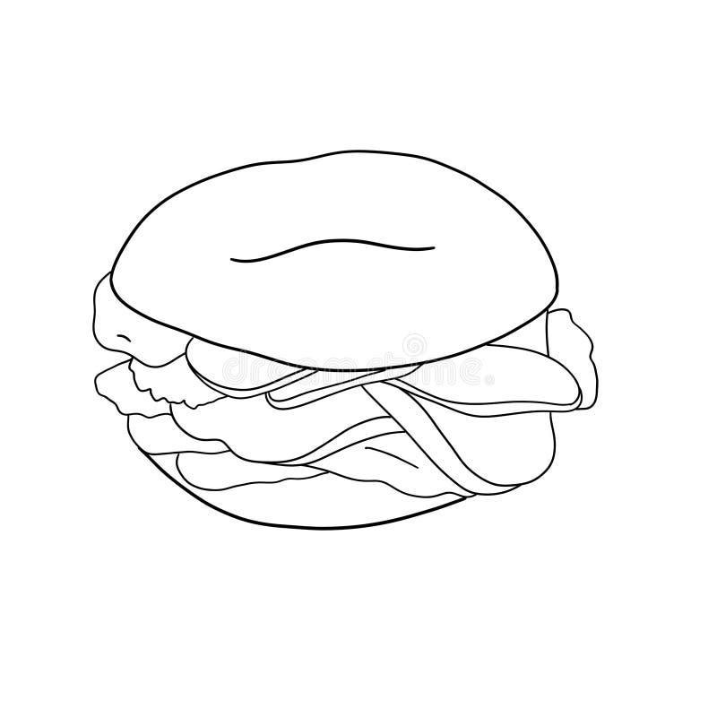 Ongezuurd broodje met komkommer, zalm, roomkaas Contourillustratie op witte achtergrond wordt ge?soleerd die royalty-vrije illustratie