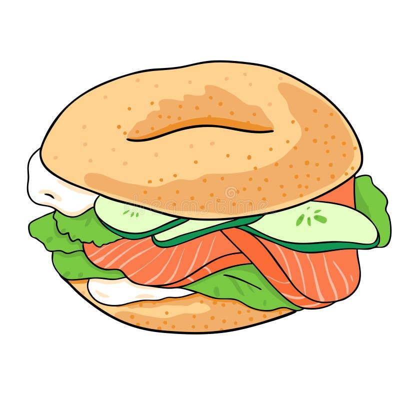 Ongezuurd broodje met komkommer, zalm, roomkaas Hand getrokken die illustratie op witte achtergrond wordt ge?soleerd Vector stock illustratie