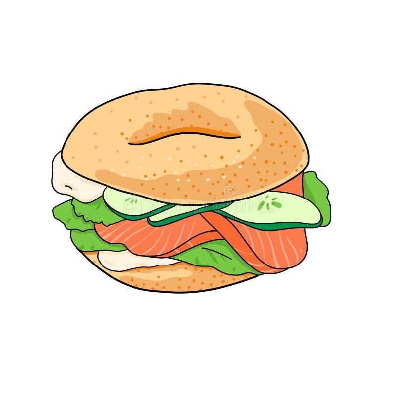 Ongezuurd broodje met komkommer, zalm, roomkaas Hand getrokken die illustratie op witte achtergrond wordt ge?soleerd vector illustratie