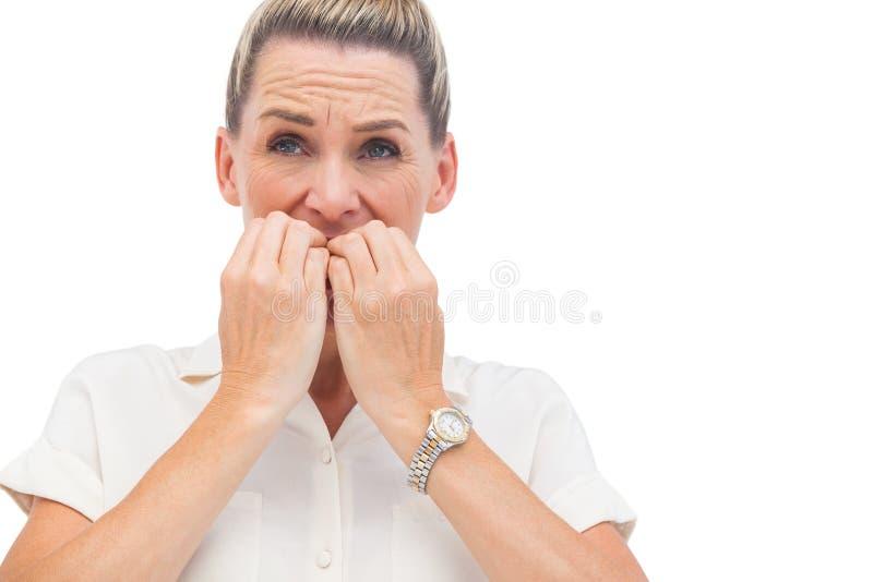 Ongles acérés d'homme d'affaires soucieux photo stock