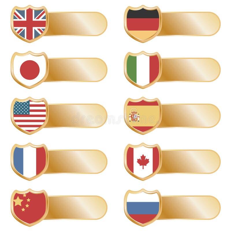 Onglets d'indicateur d'or illustration stock