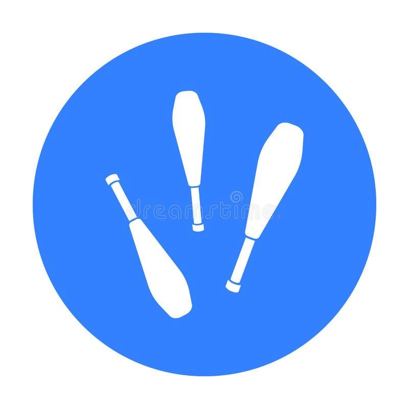 Żonglować tłuc ikonę w czerń stylu odizolowywającym na białym tle Cyrkowa symbolu zapasu wektoru ilustracja royalty ilustracja