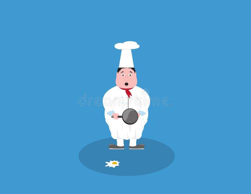 Onhandige kokchef-kok die zich met pan en ei bevinden dat op de grond legt stock illustratie