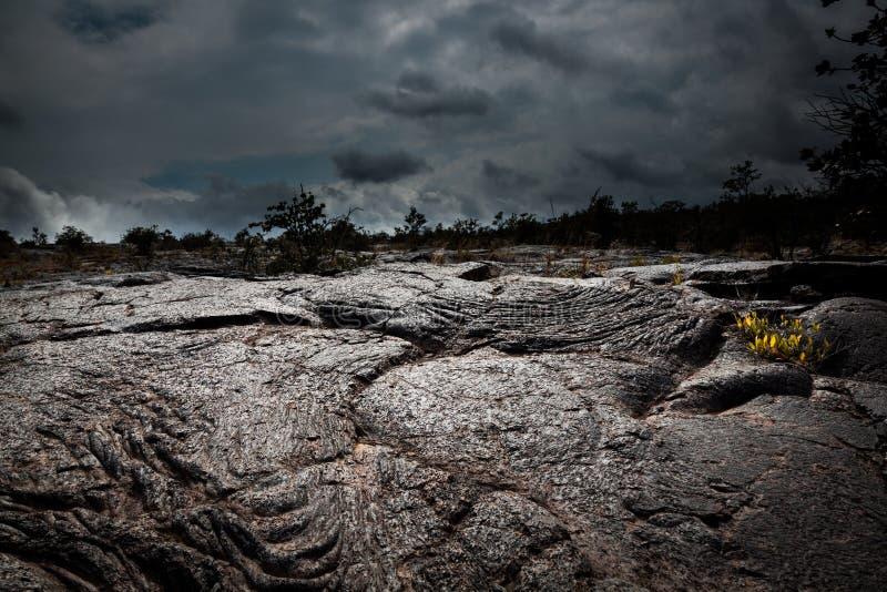 Onheilspellend Lava Field stock foto