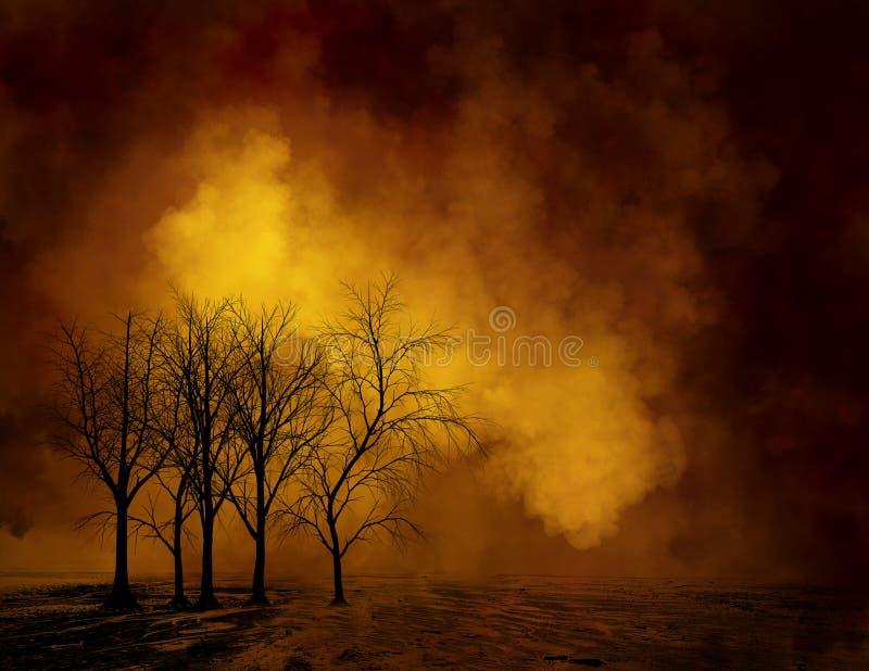 Onheilspellende Dode Bomen, Illustratieachtergrond stock afbeeldingen