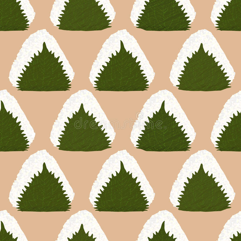 Onigiri i Perillablad seamless modell royaltyfri illustrationer