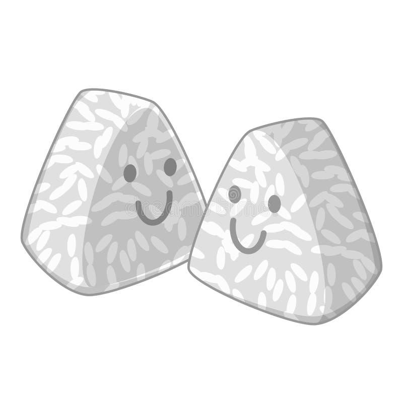 Onigiri, ice balls icon monochrome vector illustration