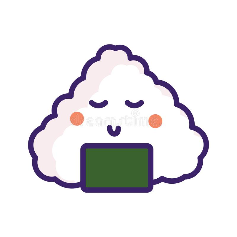 Onigiri japan food vector emoji character. stock illustration