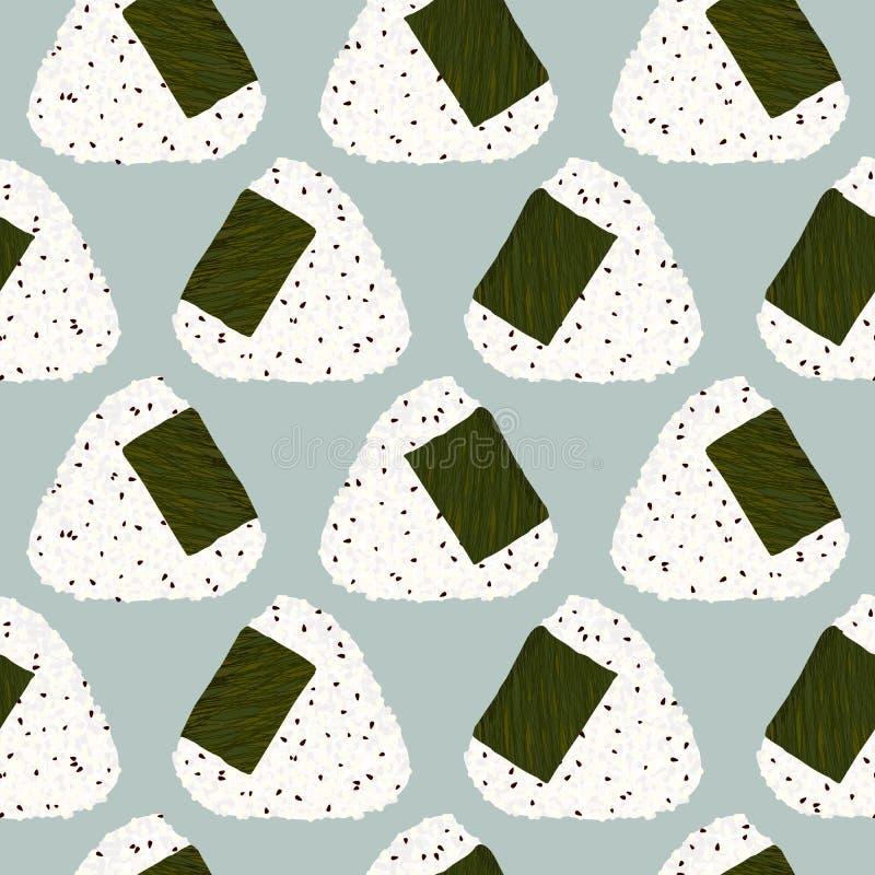 Onigiri (japońska ryżowa piłka) z sezamowymi ziarnami bezszwowy wzoru ilustracja wektor