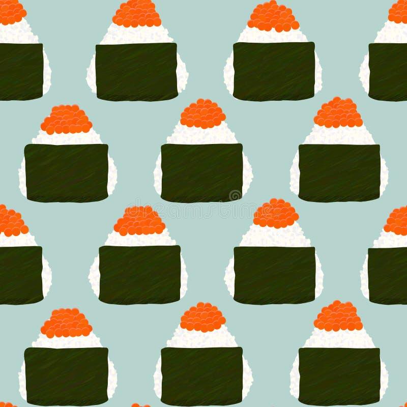Onigiri remató con las huevas de color salmón Modelo inconsútil ilustración del vector