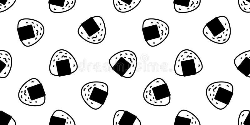 Onigiri Seamless Pattern Vector Sushi Japanese Food Scarf
