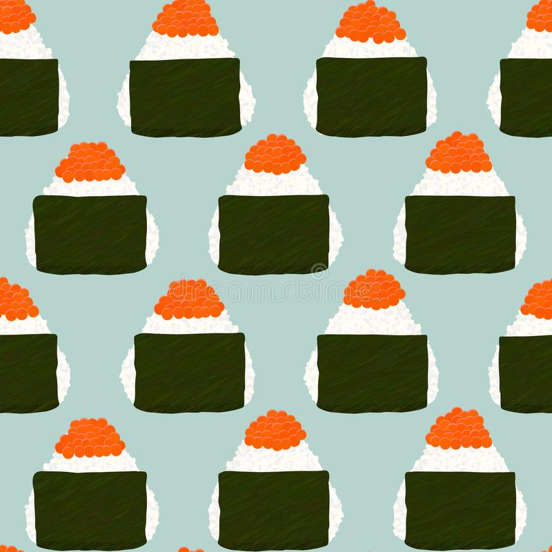 Onigiri Topped with salmon roe. Seamless pattern. vector illustration