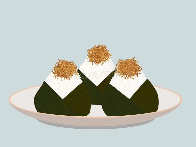 Onigiri topped with small fish fry on the plate. Japanese cuisine. Pescaterian food. Lunch Illustration. Triangle rice balls wrapped with nori seaweed vector illustration